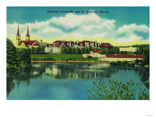 Gonzaga University and St. Aloysius Church, Spokane - Spokane, WA-Lantern Press-Art Print