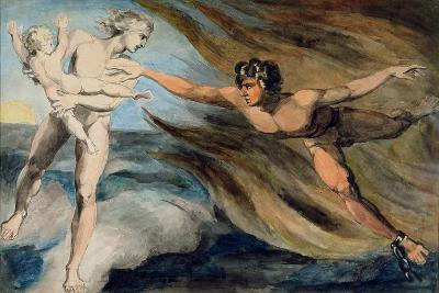 Good and Evil Angels Struggling for the Possession of a Child, C.1793-94-William Blake-Giclee Print