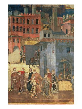 Good Government in the City,1338-40 (Detail of 57868) (Fresco)-Ambrogio Lorenzetti-Giclee Print