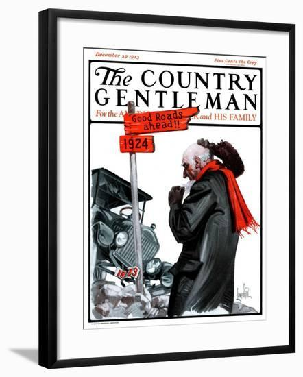 """'Good Road Ahead',"" Country Gentleman Cover, December 29, 1923-F. Lowenheim-Framed Giclee Print"