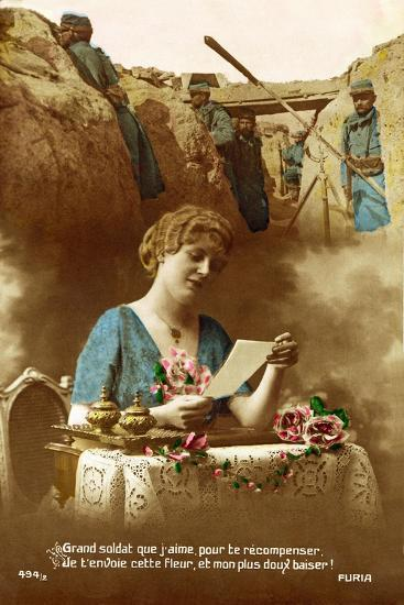 """""""Good Soldier, Whom I Love, to Reward You I Am Sending You This Flower..."""", 1916--Giclee Print"""