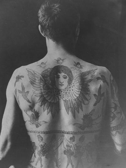 Good Study of the Back of a Tattooed Man--Photographic Print