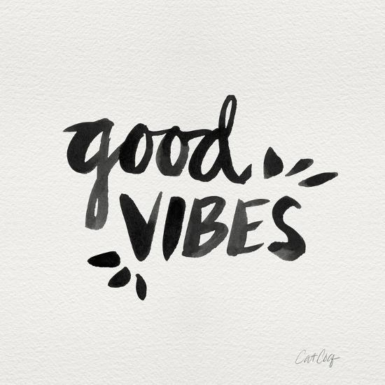 Good Vibes - Black Ink-Cat Coquillette-Giclee Print