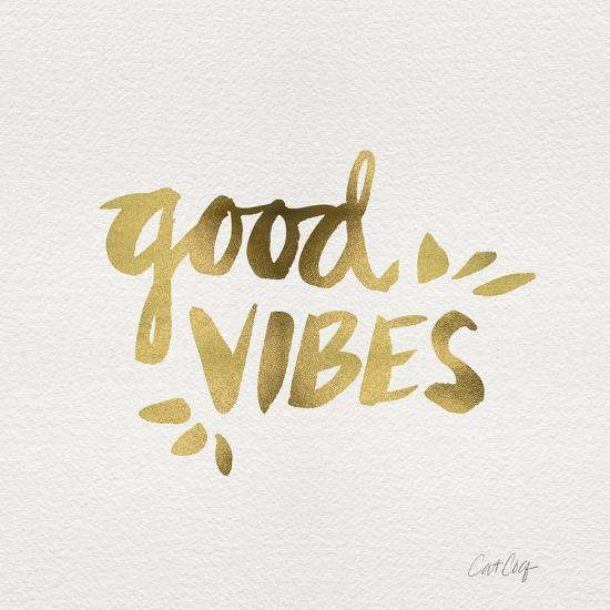 Good Vibes - Gold Ink-Cat Coquillette-Giclee Print