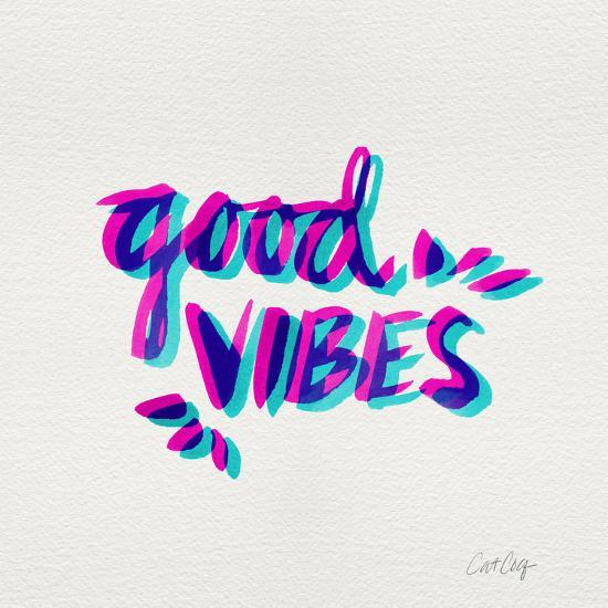 Good Vibes - Magenta and Cyan Ink-Cat Coquillette-Premium Giclee Print
