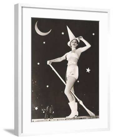 Good Witch on Her Broomstick--Framed Photo