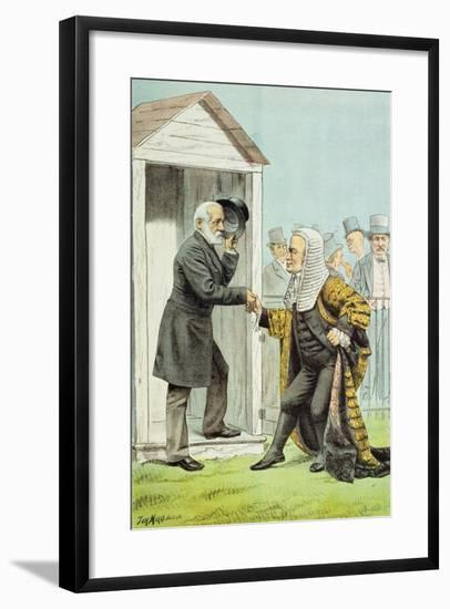 Goodbye to Judge Clark, from 'St. Stephen's Review Presentation Cartoon', 8 Dec 1888-Tom Merry-Framed Giclee Print