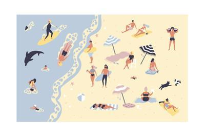 People at Beach or Seashore Relaxing and Performing Leisure Outdoor Activities by GoodStudio