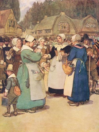 """""""Goodwives,"""" Said a Hard Featured Dame, """"I'll Tell Ye a Piece of My Mind""""-Hugh Thomson-Giclee Print"""