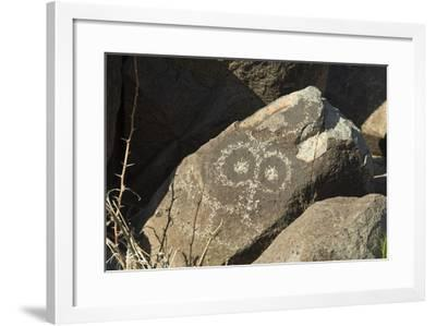 Google-Eyed Jornada-Mogollon Petroglyph at Three Rivers Site, New Mexico--Framed Photographic Print