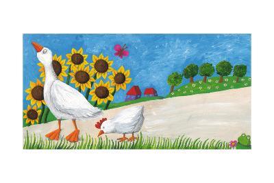 Goose with Hen on Village Way-andreapetrlik-Art Print