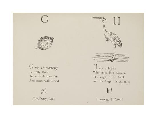 Gooseberry and Heron Illustrations and Verse From Nonsense Alphabets by Edward Lear.-Edward Lear-Giclee Print