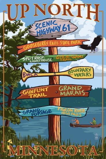 Gooseberry Falls, Minnesota - Destination Signpost-Lantern Press-Art Print