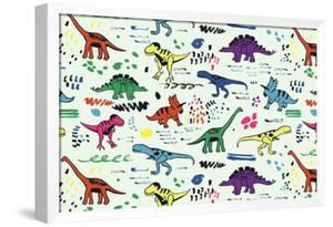 Funny Dinosaurs Graphic Color Vector Pattern by GooseFrol
