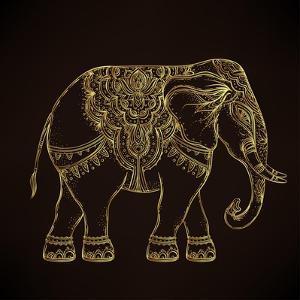 Beautiful Hand-Drawn Tribal Style Elephant. Golden Design with Boho Mandala Patterns, Ornaments. Et by Gorbash Varvara