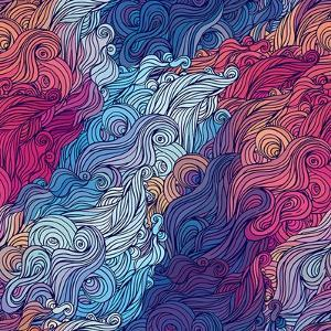 Vector Color Abstract Hand-Drawn Hair Pattern with Waves and Clouds. Asian Style. by Gorbash Varvara