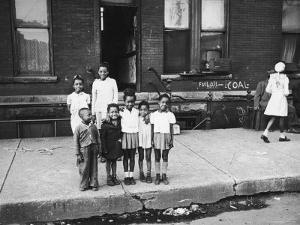 African American Children Posing on a Sidewalk in the Slums of Chicago by Gordon Coster