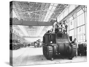 Assembling Sherman Tanks, Aiding War Effort on Home Front During WWII, Chrysler Plant in Detroit by Gordon Coster