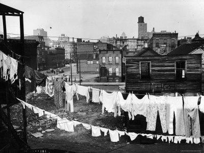 Clothes Lines Hung with Laundry in the Slums of Chicago