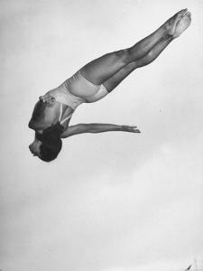 Diver Ann Ross Performing Dive by Gordon Coster