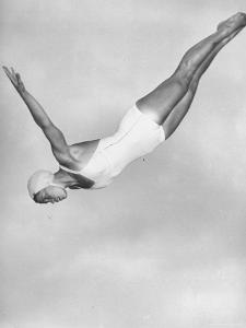 Diver Ann Ross Performing Swan Dive by Gordon Coster