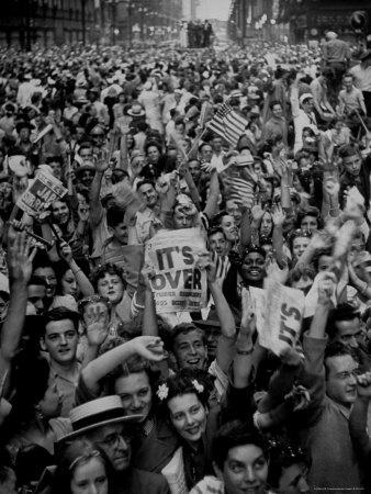 Jubilant Crowd Screaming and Flag Waving as They Mass Together During Vj Day Celebration, State St
