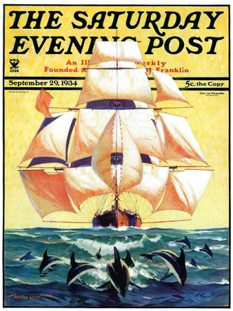 """""""Dolphins and Ship,"""" Saturday Evening Post Cover, September 29, 1934"""