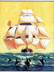 """""""Dolphins and Ship,""""September 29, 1934 by Gordon Grant"""