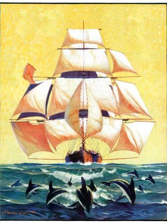 """""""Dolphins and Ship,""""September 29, 1934"""