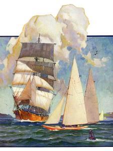 """""""Ship and Sailboats,""""July 16, 1932 by Gordon Grant"""
