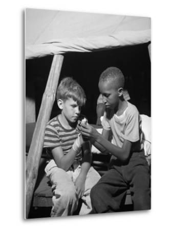 African American Camper Helps a White Bubby with His Bandaged Hand