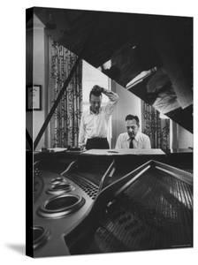 "Authors of ""My Fair Lady"", Allan Jay Lerner and Frederick Loewe, at Piano Working on Music by Gordon Parks"