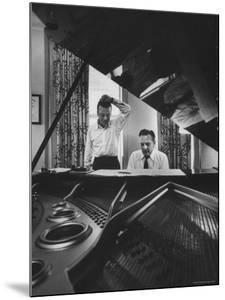 """Authors of """"My Fair Lady"""", Allan Jay Lerner and Frederick Loewe, at Piano Working on Music by Gordon Parks"""