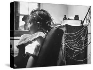 Brain Impulses Are Measured by Electroencephalograph Readings from Electrodes at Headache Clinic by Gordon Parks