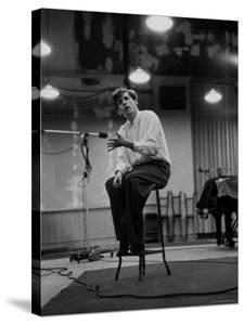 Canadian Pianist Glenn Gould Listens in Columbia Recording Studio Decides to Record Section Again by Gordon Parks
