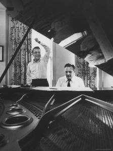 """Creators of """"My Fair Lady"""", Allan Jay Lerner and Frederick Loewe, at Piano Working on Score by Gordon Parks"""