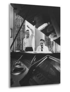 "Creators of ""My Fair Lady"", Allan Jay Lerner and Frederick Loewe, at Piano Working on Score by Gordon Parks"