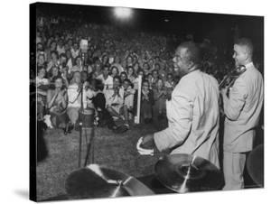 Jazz Trumpeter Louis Armstrong During a Performance by Gordon Parks