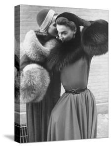 Ladies Modeling Tie on Collars and Matching Barrel Muffs Made of Natural Fox Skin by Gordon Parks