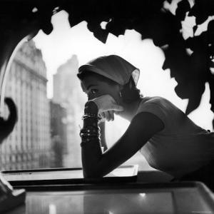 Model Wearing Nursemaid's Kerchief by Lilly Dache by Gordon Parks