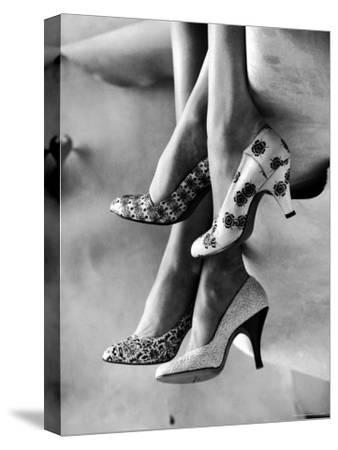 Models Displaying Printed Leather Shoes