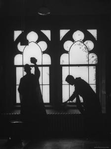 Monks Cleaning Windows of the Monastery's Sacristy by Gordon Parks