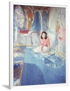 Painter Helen Frankenthaler Sitting Amidst Her Art in Her Studio by Gordon Parks