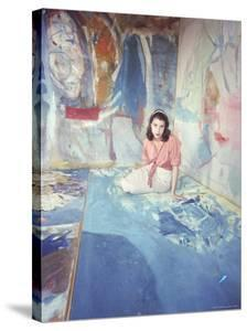 Painter Helen Frankenthaler Sitting Amidst Her Art in Her Studio by Gordon Parks