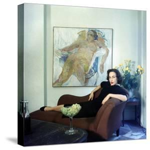 Part Time Fashion Model and Aspiring Painter Jane Wilson Posing in Front of One of Her Works by Gordon Parks
