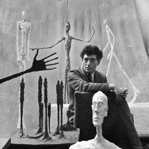Portrait of Alberto Giacometti Surrounded by His Sculptures by Gordon Parks