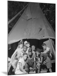 Racially Integrated Group of Boys Sharing a Comic Book at Camp Nathan Hale in Southfields, NY by Gordon Parks