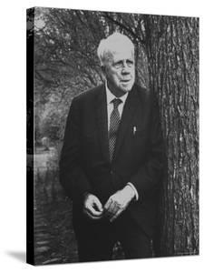 Robert Frost Leaning Against Tree on Campus of Amherst College Where He is a Professor of English by Gordon Parks