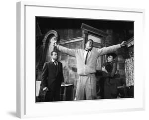 """Sidney Poitier in Dramatic Scene from Play """"A Raisin in the Sun"""", Actress Ruby Dee Visible on Right by Gordon Parks"""