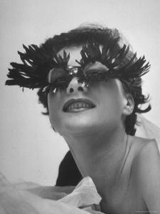 Silly Sunglasses Featuring Long Blue Eyelashes and Small Lenses by Designer Schiaparelli by Gordon Parks